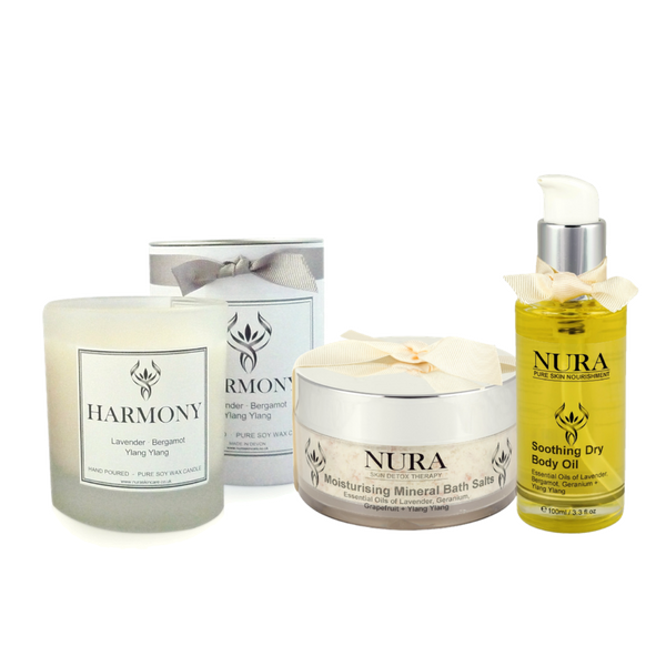 "alt=""Aromatic Dry Body Oil, Milk Bath Salts and Soy Wax candle gift set"""