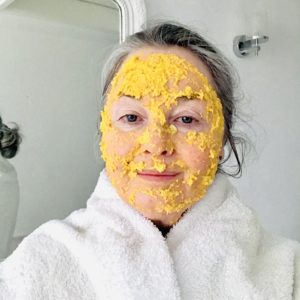 carrot face mask on face
